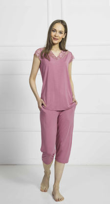 Picture of ENKI WOMEN VISCON PINK CAPRI SET