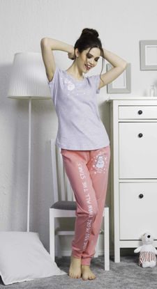 Picture of ENKI WOMEN COTTON GRAY MELANGE PAJAMA SET