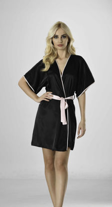 Picture of ENKI WOMEN SATIN BLACK ROBE SET