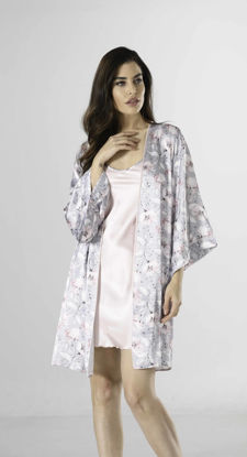 Picture of ENKI WOMEN SATIN GRAY ROBE SET SET