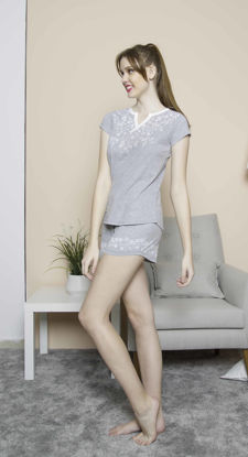 Picture of ENKI WOMEN COTTON GRAY MELANGE SHORTS SET