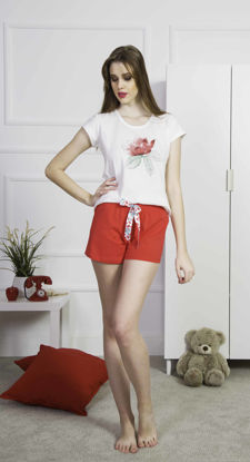 Picture of ENKI WOMEN COTTON WHITE SHORTS SET