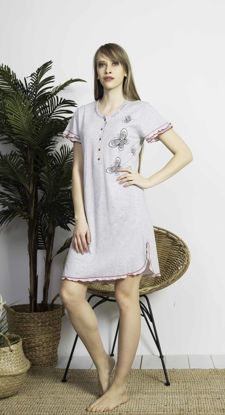 Picture of ENKI WOMEN COTTON GRAY MELANGE TUNIC SET