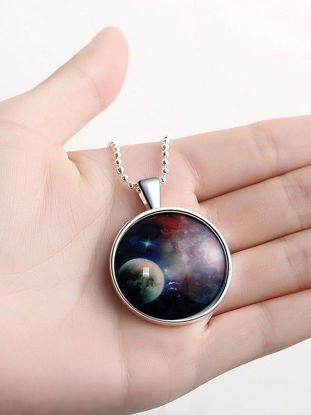Picture of Rich Long Men's Necklace Starry Sky Pattern Luminous Fashion Accessory