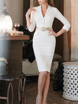 Picture of Women's Pencil Dress Solid Color Buttons Pocket Dress