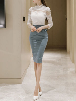Picture of Women's 2Pcs Skirt Set Solid Color T Shirt Slim Bodycon Skirt Suit