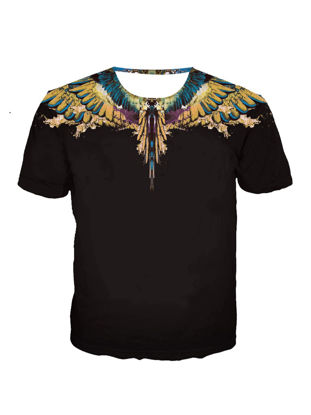 Picture of Men's Basic T Shirt Colorblock Wings Pattern O Neck Top