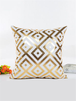 Picture of One Piece Living Room Sofa Cushion Cover Graceful Gilt Geometric Pillowcase