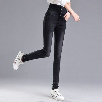 Picture of Women's Jeans High Waist Solid Color Slim Pants