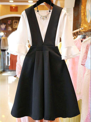 Picture of Women's 2Pcs O Neck Flare Sleeve T Shirt Solid Color Suspender Dress