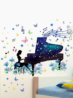 Picture of Wall Decorative Sticker Beautiful Dream Piano Pattern Home Decor