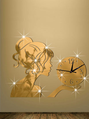Picture of 1Pc 3D Girl Mirror Surface Wall Clock Living Room Bedroom Wall Decorative Clock
