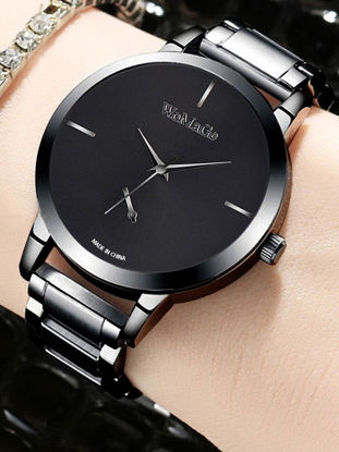 Picture of Women's Fashion Watch Trendy Simple Exquisite Round Dial Steel Band Quartz Watch