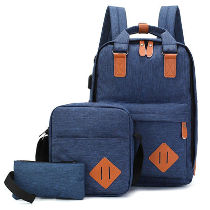 صورة Men's 3 Pcs Backpack Set Solid Color Large Capacity Back Bag