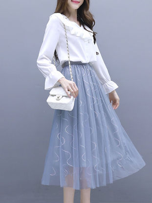 Picture of Women's 2Pcs Skirt Suit Long Sleeve Blouse Patchwork Aline Skirt Set