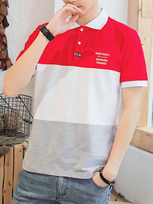 صورة Men's Polo Shirt Turn Down Collar Short Sleeve Color Block Patchwork Top