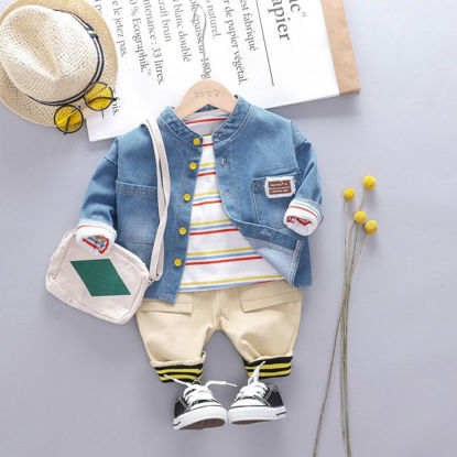 Picture of Kid's 3Pcs Casual Suit Stripe O Neck T Shirt Button Shirt Casual Rib Pants Set