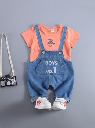 Picture of Baby Boy's 2 Pcs Suits Denim Overall And T Shirt Baby Clothes