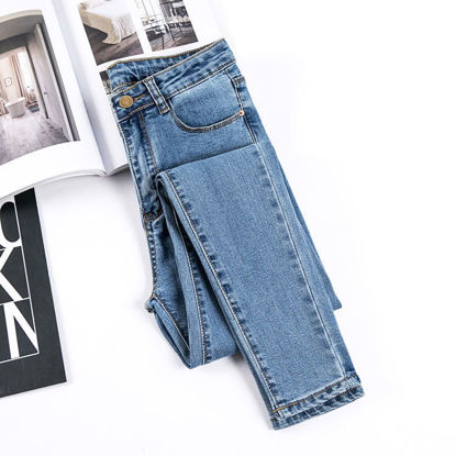 Picture of Student high waist jeans women's trousers large size stretch tight feet pencil pants