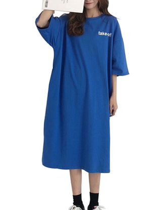 Picture of Women's Sleep Dress Letter Pattern O Neck Half Sleeve Loose Home Dress