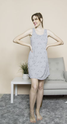 Picture of WOMEN TUNIC GRAY MELANGE COTTON