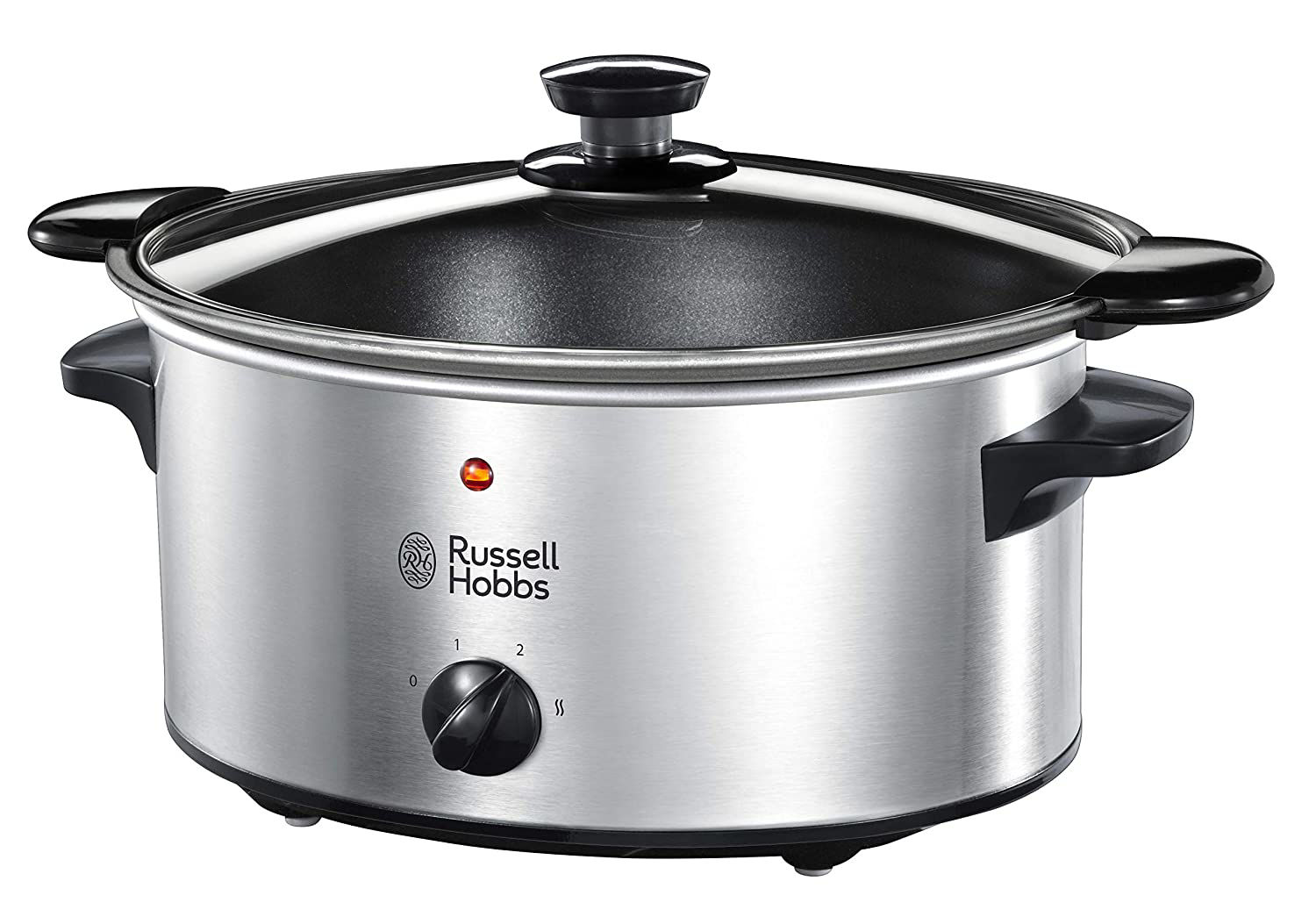 Picture of Russell Hobbs 22740-56 Slow Cooker @ Home, Crock Pot, Electric Slow Cooker, 3 Temperature Settings, 3.5l, Stainless Steel / Black