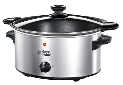 صورة Russell Hobbs 22740-56 Slow Cooker @ Home, Crock Pot, Electric Slow Cooker, 3 Temperature Settings, 3.5l, Stainless Steel / Black