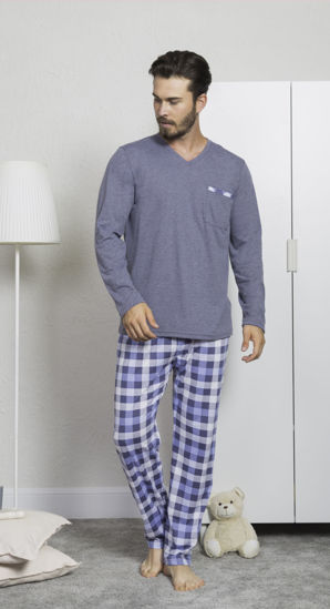 Picture of ENKI MEN COTTON ANTHRACİTE PAJAMA SET