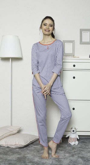 Picture of ENKI WOMEN COTTON GRAY PAJAMA SET