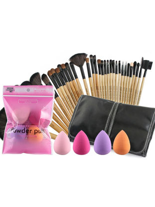 Picture of Sixplus 32 Ppieces Makeup Brushes & 4 Pieces Cosmetic Sponge Combination Set -
