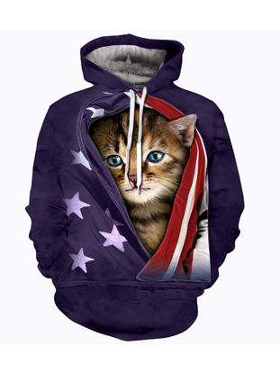 Picture of Men's Hoodie Cute Cat Pattern Print Long Sleeve Hoodie - Size: XL