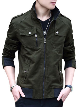 Picture of Men's Casual Jacket Zipper Epaulet Pocket Solid Color Jacket - Size: M