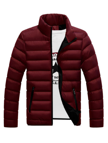 Picture of Men's Quilted Coat Stand Collar Solid Color Waterproof Fashionable Casual Coat - Size: M