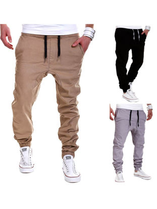 Picture of Men's Casual Pant Fashion Solid Color Drawstring Waist Trouser - Size: XXL
