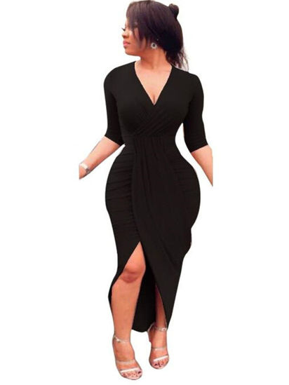 Picture of Women's Dress V Neck Solid Color Split Fashion Slim Maxi Long Dress - Size: XL