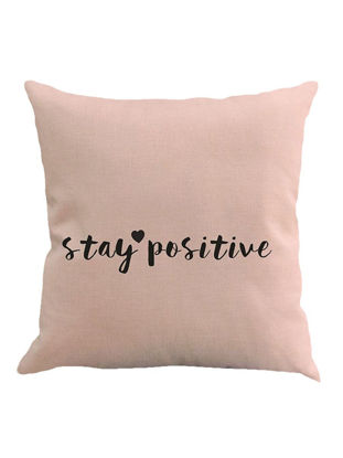 Picture of Pink Letter Pattern Sofa Bed Home Decor Cushion Cover Linen Pillow Case - Size: 45*45(W*L)cm