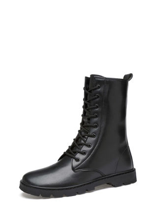 Picture of Men's Boots Solid Color Lacing Up Soft Heel Lifted Anti Skid Abrasion Resistance Men's Shoes - Size: 40