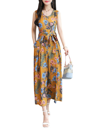 Picture of Women's Plus Size Jumpsuit Fashion Floral V Neck Sleeveless Jumpsuit - Size: 3XL