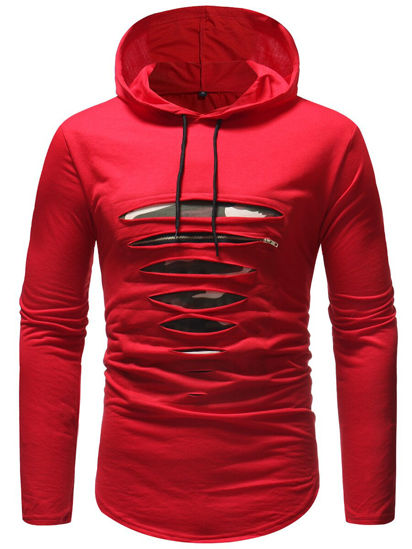 Picture of Men's T Shirt Fashion Hollow Design Hooded Design Long Sleeve Top - Size: XXL