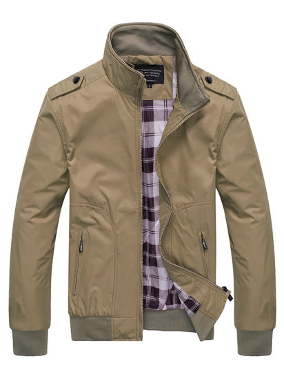 Picture of Men's Casual Jacket Stand Collar Long Sleeve Simple Mens Clothing - Size: XL