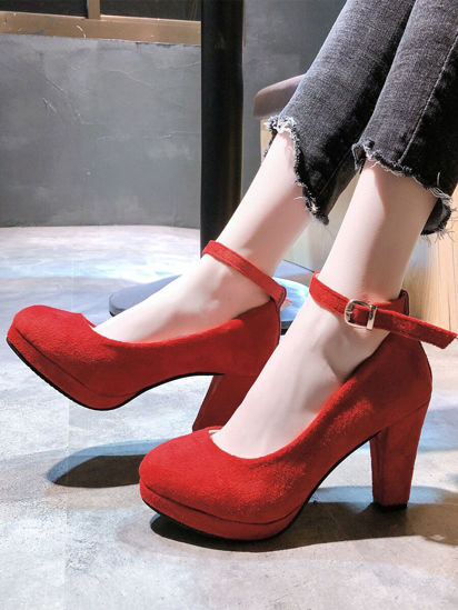 Picture of Women's High-Heeled Pumps Solid Color Thick Heel Platform Shoes - Size: 40