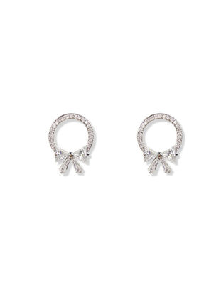 Picture of Women's Studs Earrings 925 Sterling Silver Rhinestones Inlay Bow Knot Hollow Out Sweet Earrings Accessory - Size: One Size