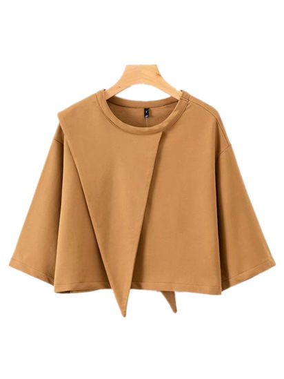 Picture of Women's Sweatshirt Solid Color Asymmetric Sweatshirt - Size: M