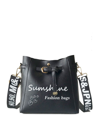 Picture of Women's Crossbody Bag Letter Pattern Stylish Casual Bag - Size: One Size