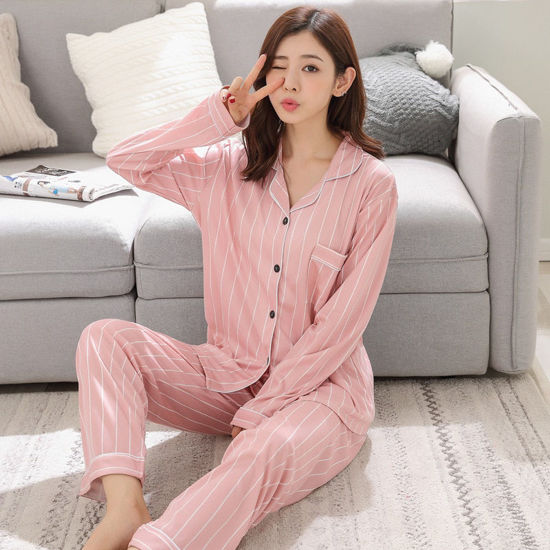 Picture of Women's Pajamas Set 2Pcs Stripe Pattern Long Sleeve Top Casual Pants Home Set - Size: XL