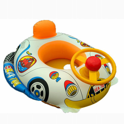 Picture of Kid's Inflatable Floating Boat With Steering Wheel Infant Child Swim Pool Toy - Size: One Size