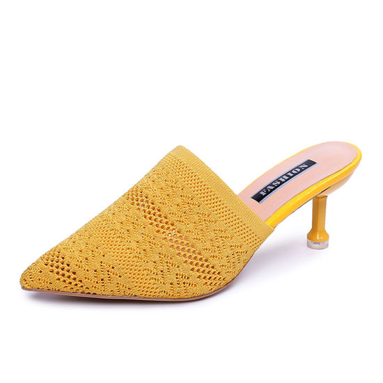 Picture of Women's Closed Slippers Hollow-out Pointed Toe High Heel Slippers - Size: 39