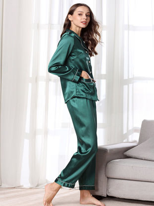 Picture of Women's Pajamas Set Long Sleeve Silk Like Comfy Casual Home Pants Set - Size: XL