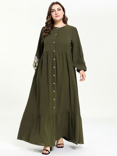 Picture of Women's Plus Size Aline Dress Ruffle Button Embroidery Dress - Size: 4XL