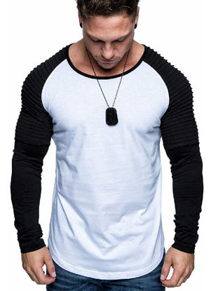 Picture of Men's T Shirt Fashion Patchwork O Neck Top - Size: XL